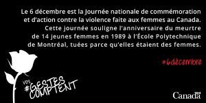 6 decembre : Journée nationale de commémoration et d'action contre la violence faite aux femmes