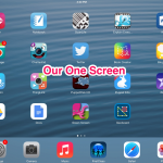 Apps organized onto one screen on the iPad specifically picked for students to share their learning.