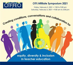 light yellow background, OTF logo on left, title of symposium in semi-circle over image of people